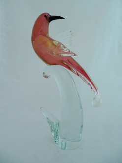 Bird Ruby/Gold Head Forward Murano Glass