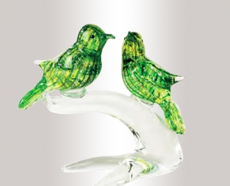Murano Glass Crystal/Green/Gold Birds On A Branch