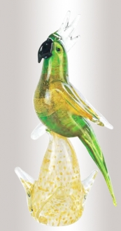 Murano Glass Parrot Green/Gold