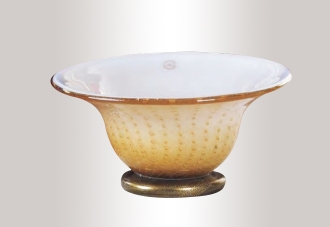 Murano Glass Amber And Gold Bowl