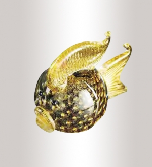 Murano Glass Black/Gold Fish