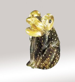 Murano Glass Black/Gold Frog