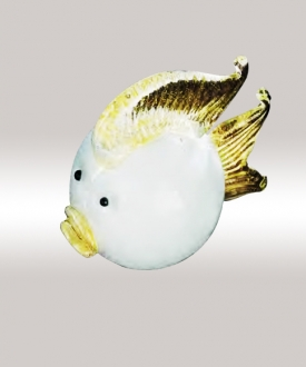 Murano Glass White/Gold Fish