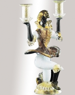 Murano Glass Anenturine/Black/Gold Candlestick