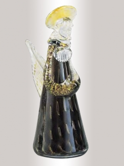 Murano Glass Black/Gold Angel