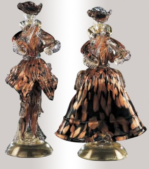 Murano Glass Couple Figurines Aventurine Black/Gold