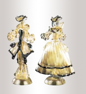 Murano Glass Couple Figurines Gold/Black