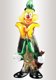 Murano Glass Multicolor Clown With Bottle