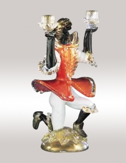 Murano Glass Red/Gold Candlestick