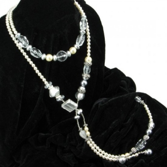 Long murano glass pearls necklace