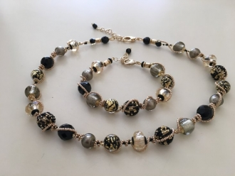 Maria Murano Glass Necklace Black/Gold