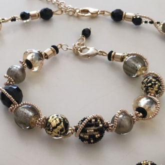 Maria Murano Glass Bracelet Black