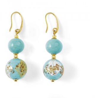 Murano Glass Earrings Light Blue With Angelite
