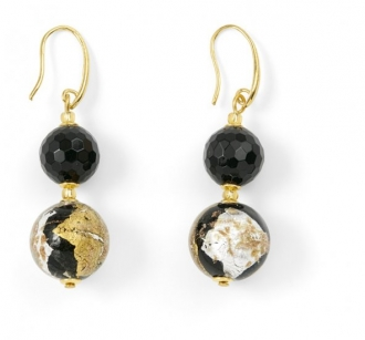 Murano Glass Earrings With Black Onyx