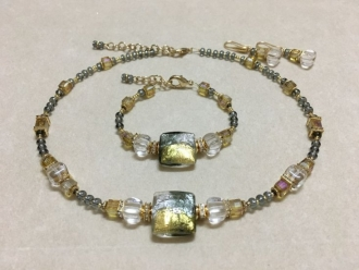 Modern Murano Necklace Silver/Gold
