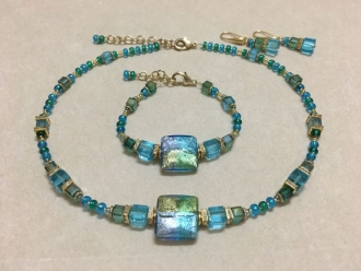 Modern Murano Necklace Turquoise