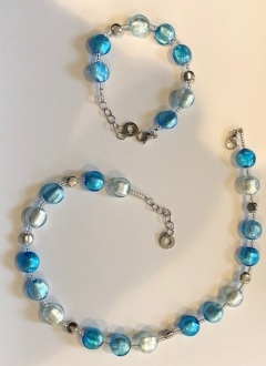 Murano Glass Necklace Sky Blue/White