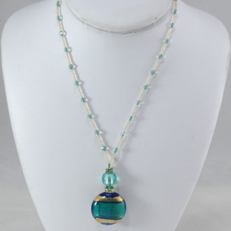 Murano Bead Necklace Turquoise