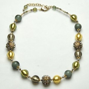 Murano Glass Beed Necklace Green