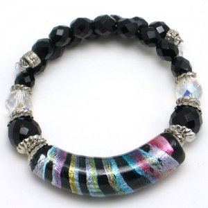 Arkadia Murano Glass Bracelet Silver/Black