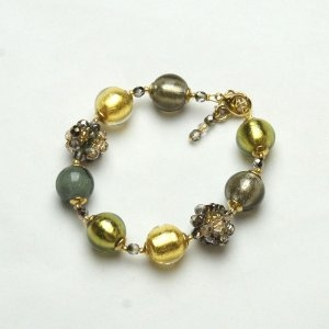 Murano Glass Bead Bracelet Green