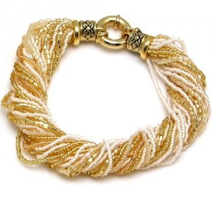 Murano Glass Bracelet White/Gold