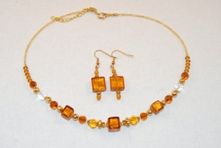 Amber murano glass cubes and globes necklace and earrings