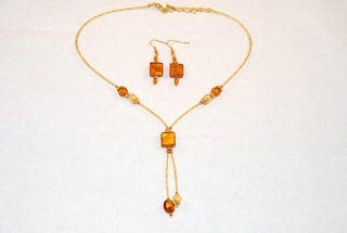 Amber murano glass dangle square necklace and earrings