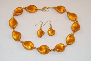 Amber murano glass large twists necklace and earrings
