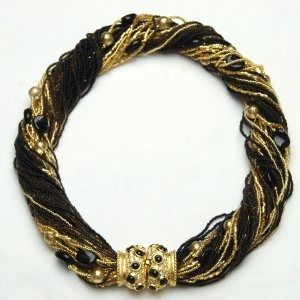 Angelica Murano Glass Necklace Black/Gold