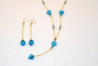 Aqua murano glass dangle heart necklace and earrings