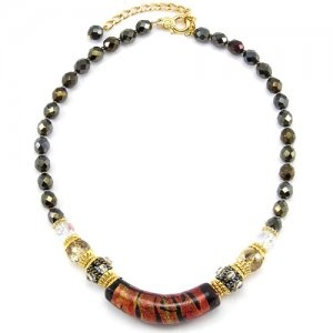 Arkadia Murano Glass Necklace Brown