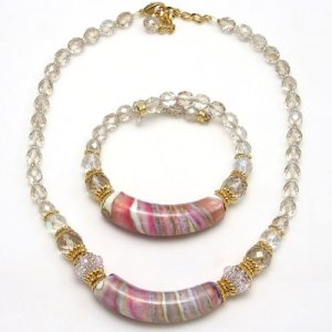 Arkadia Murano Glass Necklace Pink