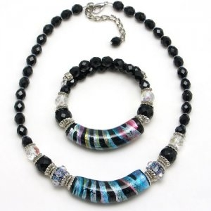Arkadia Murano Glass Necklace Silver/Black