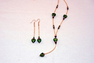 Emerald murano glass dangle heart necklace and earrings