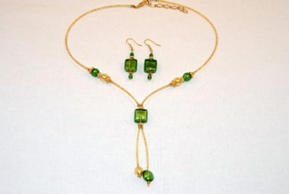 Emerald murano glass square dangle necklace and earrings