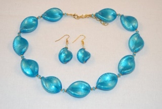 Light blue murano glass large twists necklace and earrings
