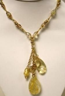 Murano Glass  Necklace White