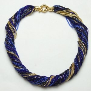 Murano Glass Twist Necklace Cobalt/Blue