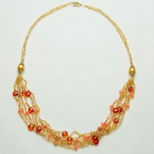Royal Murano Glass Necklace Long Coral