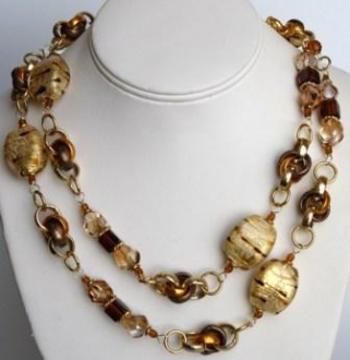 Vintage Murano glass beads Necklace - Amber