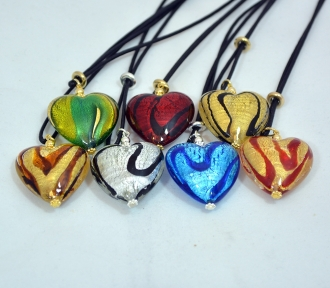 Murano glass pendant colorful assortment murano glass jewelry colorful assortment heart pendants mozeypictures Images