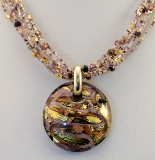 Murano Glass  Black/Lavender/Gold Pendant
