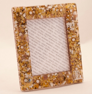 Murano Glass Murrine Glass Frame Gold/White