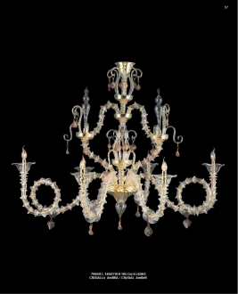 Murano Glass Chandelier Crystal/Amber