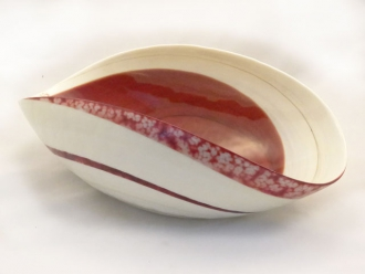 Rouge Murano glass Red and Ivory Folded Bowl