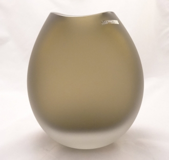 Murano Glass VASO MARRINE SATINATO ROUND BROWN SATIN Vase