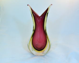 Murano Glass Sommerso Vase Ruby and Amber