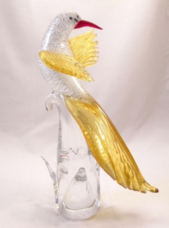 Murano Glass Bird  Silver and Golden Looking Back