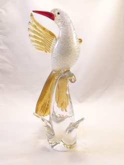 Murano Glass Bird Silver and Golden Looking Forward